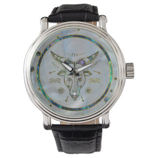 Capricorn Zodiac Gold Abalone on Constellation Watch