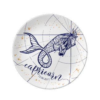 Capricorn Zodiac Navy Blue & Gold Birth Plate