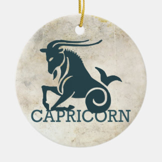 Capricorn  Zodiac Round Ceramic Ornament