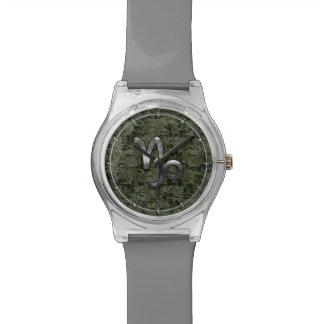 Capricorn Zodiac Sign on Woodland Digital Camo Wristwatches