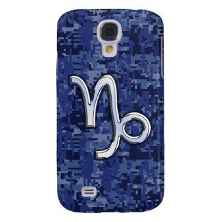 Capricorn Zodiac Symbol Blue Digital Camouflage