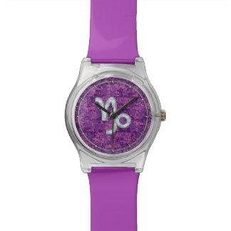 Capricorn Zodiac Symbol Fuchsia Digital Camouflage Wristwatch