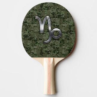 Capricorn Zodiac Symbol Green Digital Camouflage Ping Pong Paddle