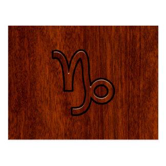 Capricorn Zodiac Symbol in Mahogany Brown Postcard