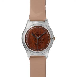 Capricorn Zodiac Symbol in Mahogany Brown Wristwatches