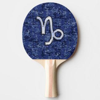Capricorn Zodiac Symbol on navy blue digital camo Ping-Pong Paddle