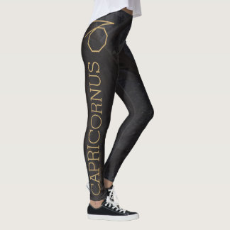Capricornus Zodiac Sign   Custom Background + Text Leggings