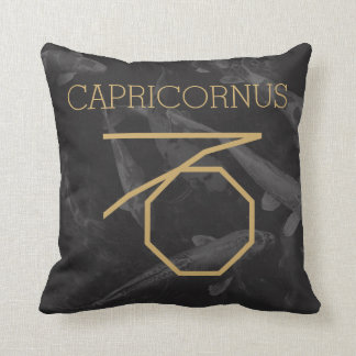 Capricornus Zodiac Sign | Custom Background + Text Throw Pillow