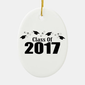 Caps And Diplomas Class Of 2017 (Black) Ceramic Ornament
