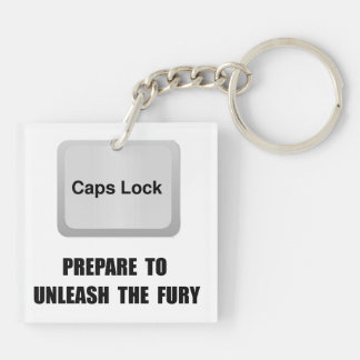 Caps Lock Double-Sided Square Acrylic Keychain