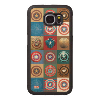 Captain America 75th Anniversary Shield Patchwork Wood Phone Case
