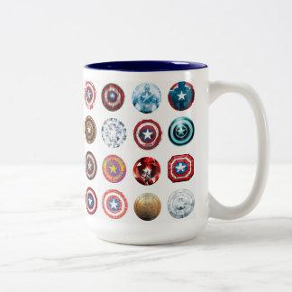 Captain America 75th Anniversary Shield Pattern Two-Tone Coffee Mug