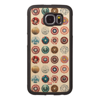 Captain America 75th Anniversary Shield Pattern Wood Phone Case