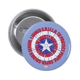 Captain America Alias Typography Shield 2 Inch Round Button