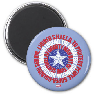 Captain America Alias Typography Shield 2 Inch Round Magnet
