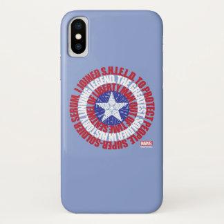 Captain America Alias Typography Shield iPhone X Case