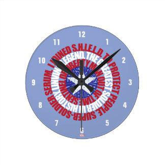 Captain America Alias Typography Shield Wallclock