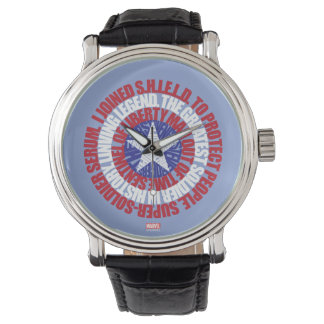 Captain America Alias Typography Shield Wrist Watches