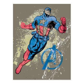 Captain America Avenger Grunge Graphic Postcard
