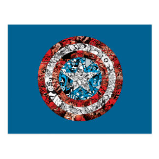 Captain America Comic Patterned Shield Postcard