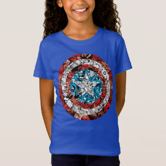 Captain America Comic Patterned Shield T-Shirt