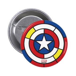 Captain America De Stijl Abstract Shield 2 Inch Round Button