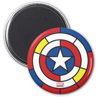 Captain America De Stijl Abstract Shield 2 Inch Round Magnet