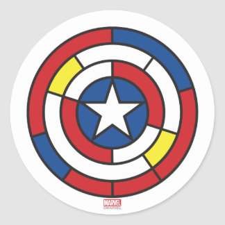 Captain America De Stijl Abstract Shield Classic Round Sticker