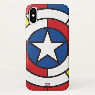 Captain America De Stijl Abstract Shield iPhone X Case