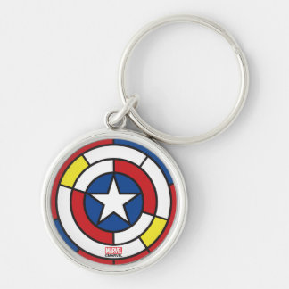 Captain America De Stijl Abstract Shield Silver-Colored Round Keychain