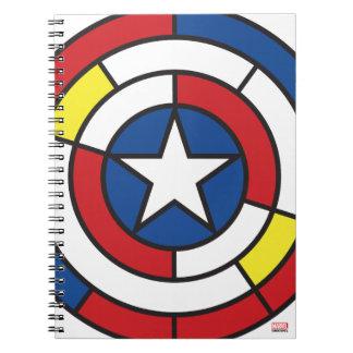 Captain America De Stijl Abstract Shield Spiral Notebooks
