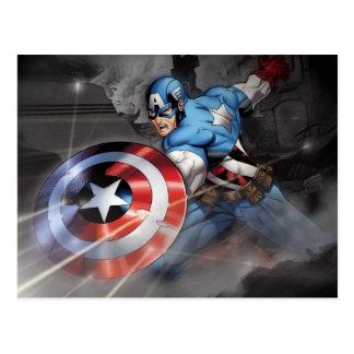 Captain America Deflecting Attack Postcard