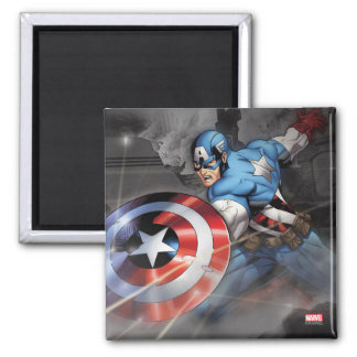 Captain America Deflecting Attack Square Magnet