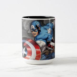 Captain America Deflecting Attack Two-Tone Coffee Mug