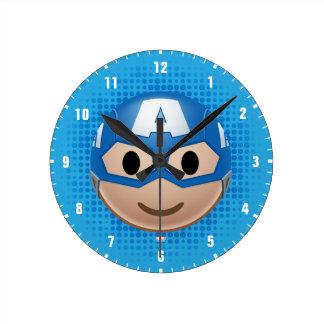 Captain America Emoji Round Clock