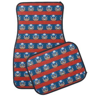 Captain America Emoji Stripe Pattern Car Mat