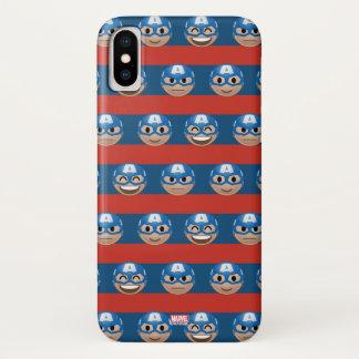 Captain America Emoji Stripe Pattern iPhone X Case