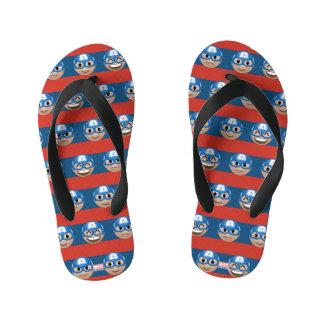 Captain America Emoji Stripe Pattern Kid's Flip Flops