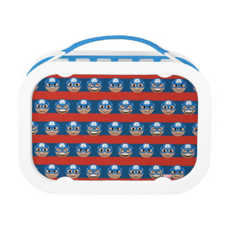 Captain America Emoji Stripe Pattern Lunch Box