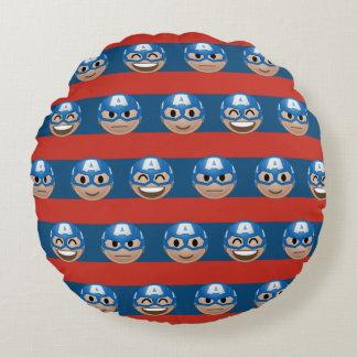 Captain America Emoji Stripe Pattern Round Pillow