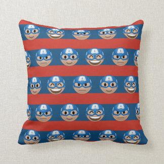 Captain America Emoji Stripe Pattern Throw Pillow