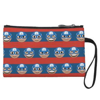 Captain America Emoji Stripe Pattern Wristlet