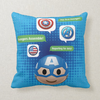 Captain America Emoji Throw Pillow