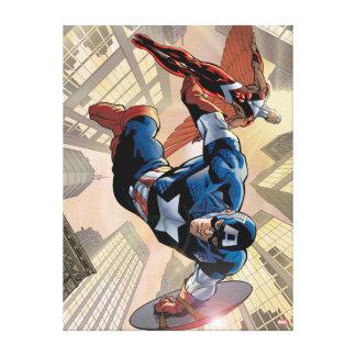 Captain America & Falcon Comic Panel Canvas Print