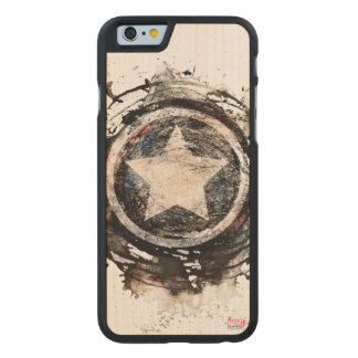 Captain America Grunge Shield Carved Maple iPhone 6 Case