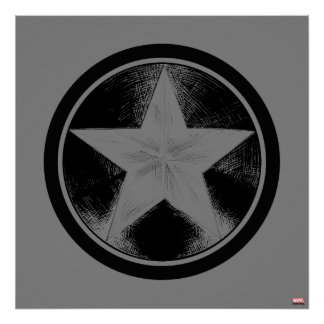 Captain America Grunge Shield Poster