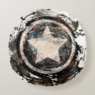 Captain America Grunge Shield Round Pillow
