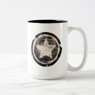 Captain America Grunge Shield Two-Tone Coffee Mug