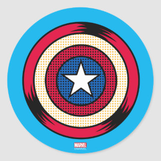 Captain America Halftone Shield Classic Round Sticker