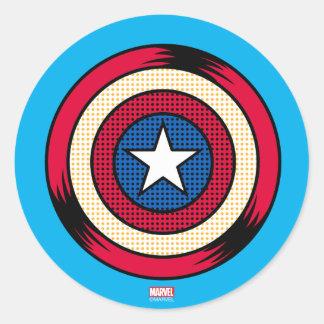 Captain America Halftone Shield Round Sticker